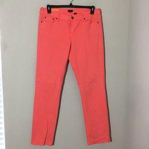 J. Crew Matchstick Skinny Jeans Coral Sz 32